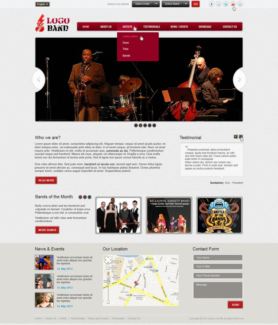 Bài tham dự cuộc thi #15 cho Design a Website for Music Band introduction site