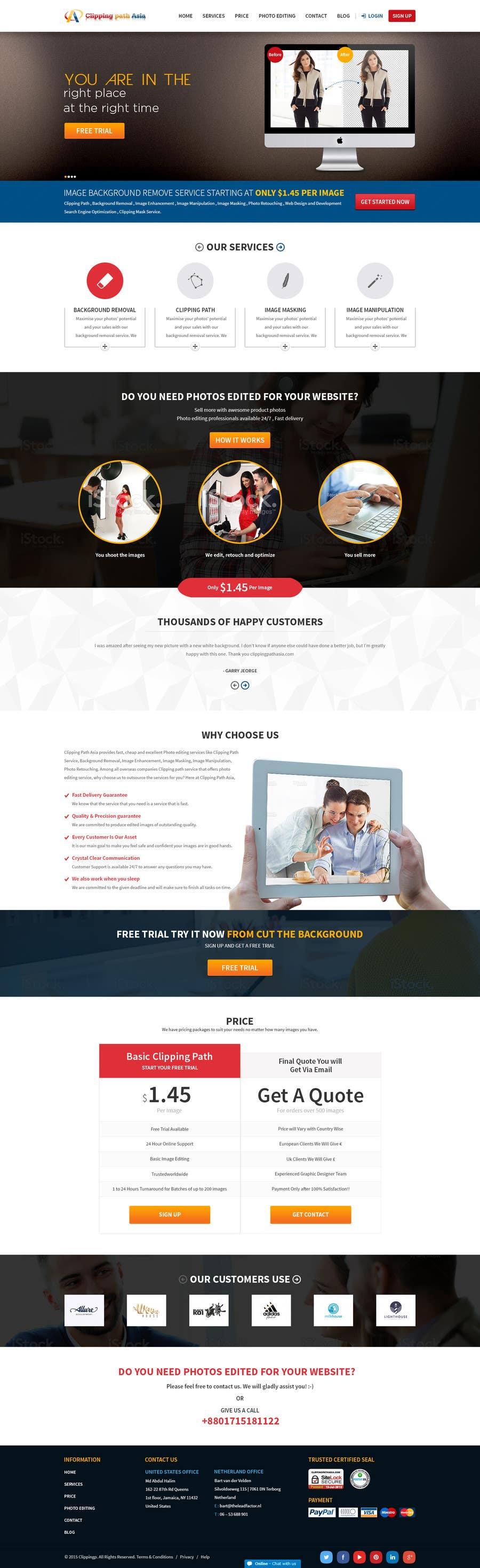 Kilpailutyö #15 kilpailussa Design a Website Mockup for clippingpathasia.com