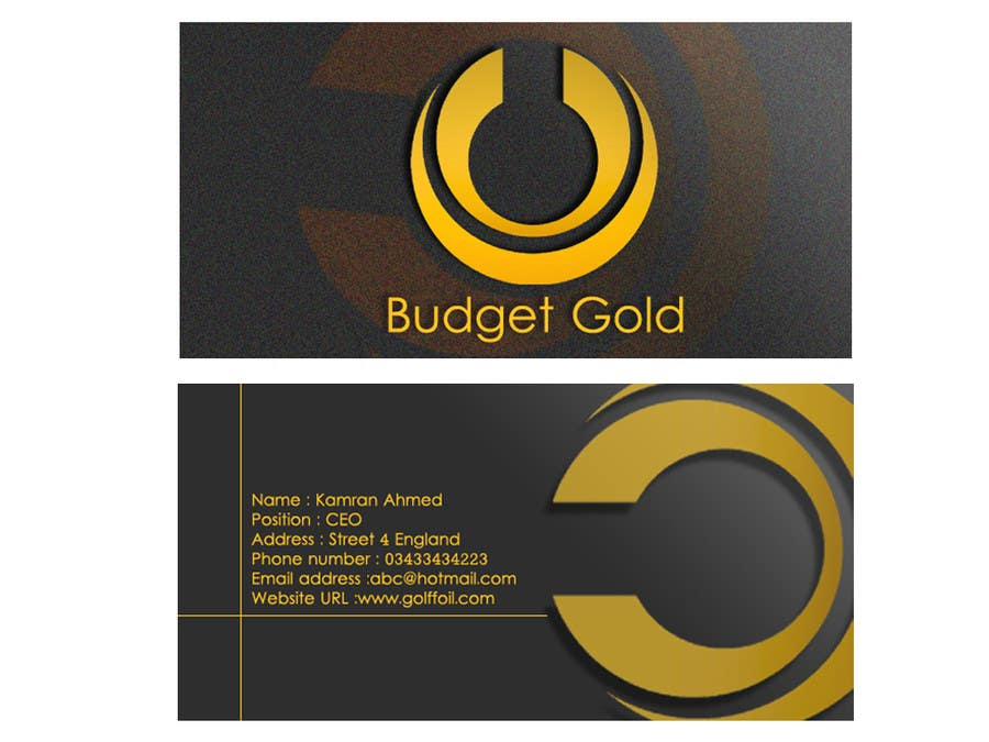 Entry 6 By Kamranmahmed For Design Business Cards For Gold