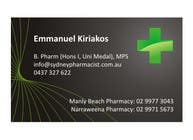 Graphic Design Entri Peraduan #5 for Business Card Design for retail pharmacist based in Sydney, Australia