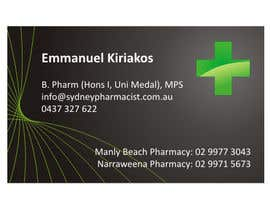 #5 pentru Business Card Design for retail pharmacist based in Sydney, Australia de către rwijaya