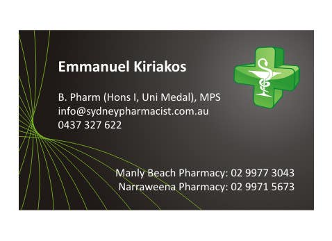 Contest Entry #91 for Business Card Design for retail pharmacist based in Sydney, Australia