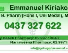 #24 pentru Business Card Design for retail pharmacist based in Sydney, Australia de către gbanks