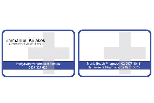 Contest Entry #118 for Business Card Design for retail pharmacist based in Sydney, Australia