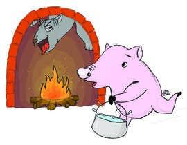 "#19 untuk Illustration for one page from the famous story ""Three little pigs"" oleh auzinagunta"