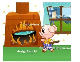 "#15 para Illustration for one page from the famous story ""Three little pigs"" por design4world"