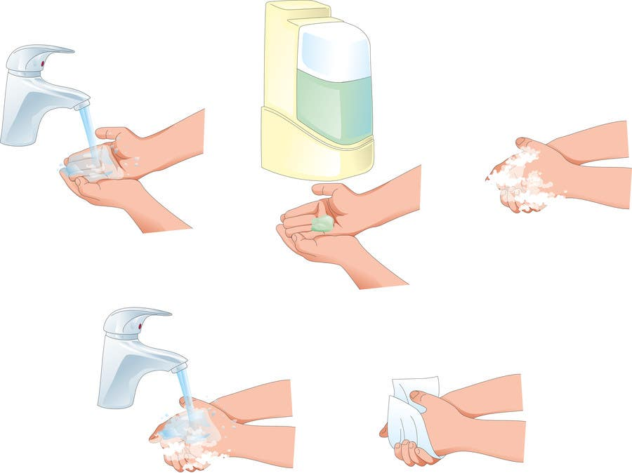 Bài tham dự cuộc thi #                                        5                                      cho                                         5 drawings for a strip depicting the washing of hands for children