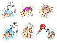 Bài tham dự #1 về Graphic Design cho cuộc thi 5 drawings for a strip depicting the washing of hands for children