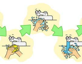 #10 para 5 drawings for a strip depicting the washing of hands for children por Stevieyuki