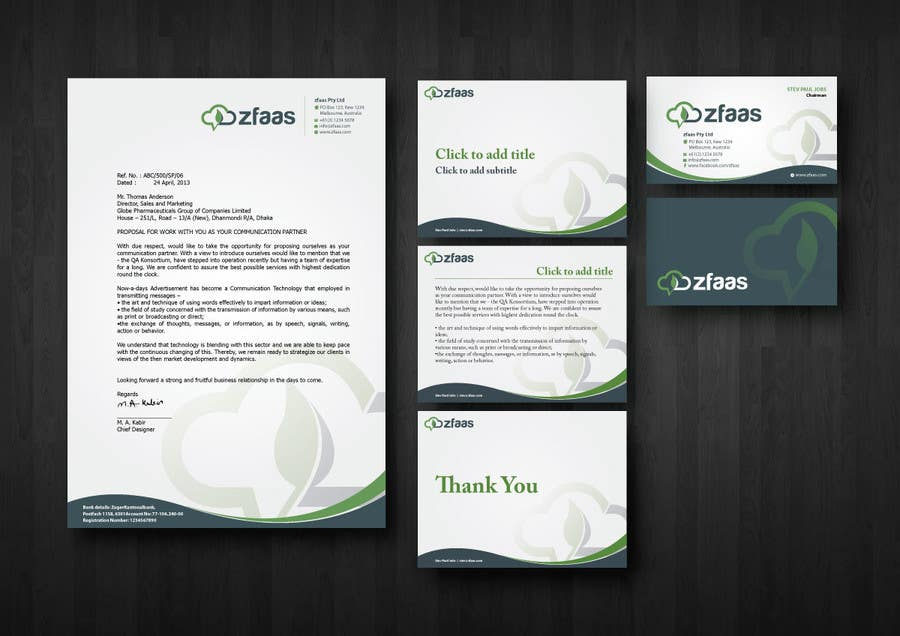 Inscrição nº 14 do Concurso para Design some Business Cards, stationery and a Powerpoint slide template for zfaas Pty Ltd