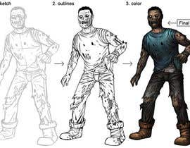 #12 for Illustrate 3 zombies / walking dead. 1 character male or female and 1 weapon af satherghoees1