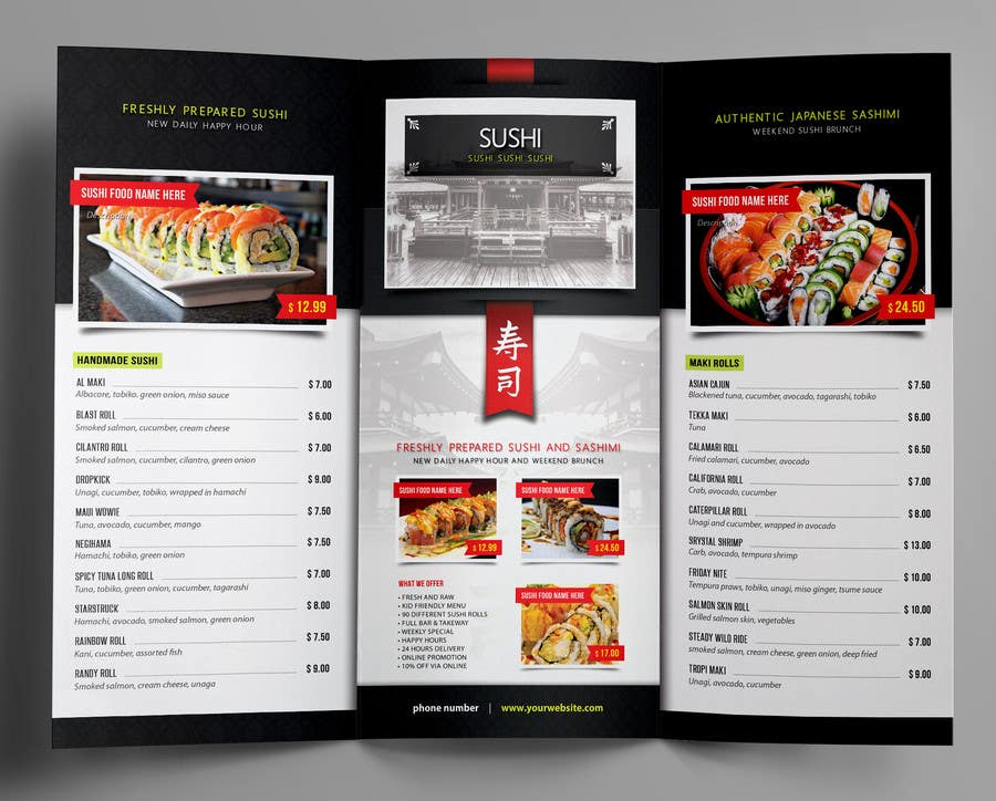Sushi restaurant menu design images for Akina japanese cuisine menu