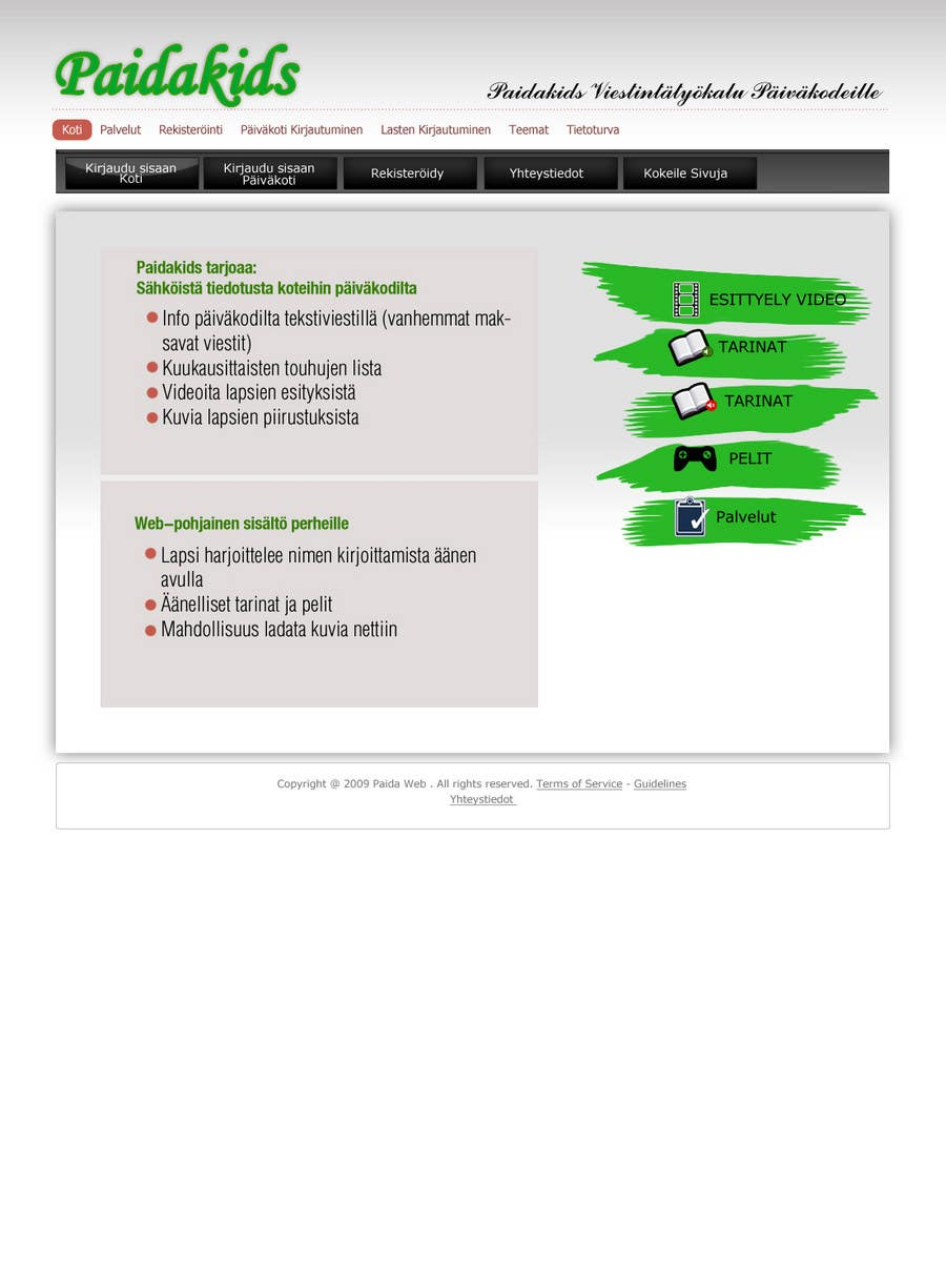 Конкурсная заявка №12 для Graphic Redesign: Front page of web app for nursery schools (PSD)