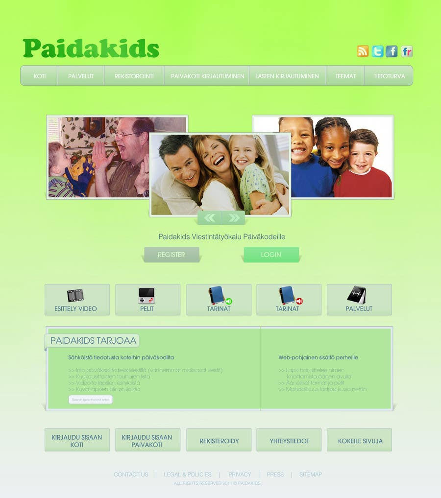Contest Entry #17 for Graphic Redesign: Front page of web app for nursery schools (PSD)