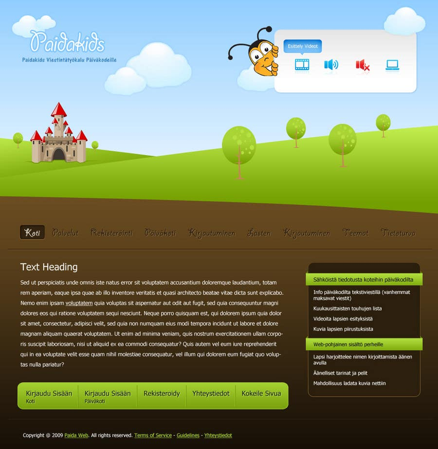 Конкурсная заявка №7 для Graphic Redesign: Front page of web app for nursery schools (PSD)
