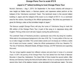 #10 untuk Professional and Catchy Press Release for Orange Piano Tour 2015 oleh ChatterjeeA