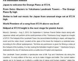#11 untuk Professional and Catchy Press Release for Orange Piano Tour 2015 oleh ChatterjeeA