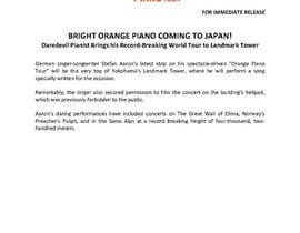 #18 untuk Professional and Catchy Press Release for Orange Piano Tour 2015 oleh michelleolaya