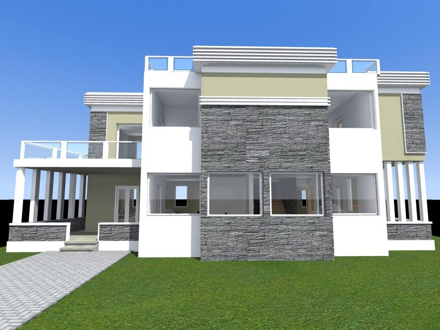 Redesign my house and render with a modern flat roof with Contemporary flat roof designs