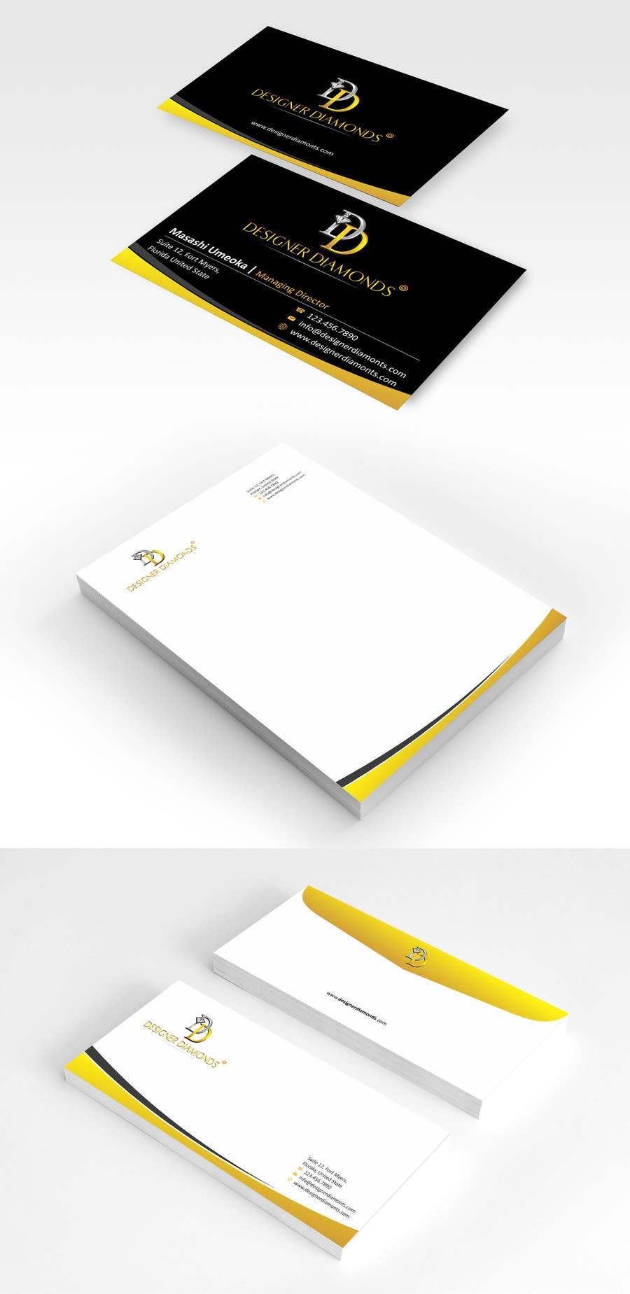#7 for Design some Stationery for a Jewelery Company (Letterhead/Envelope/Business Card) by ezesol
