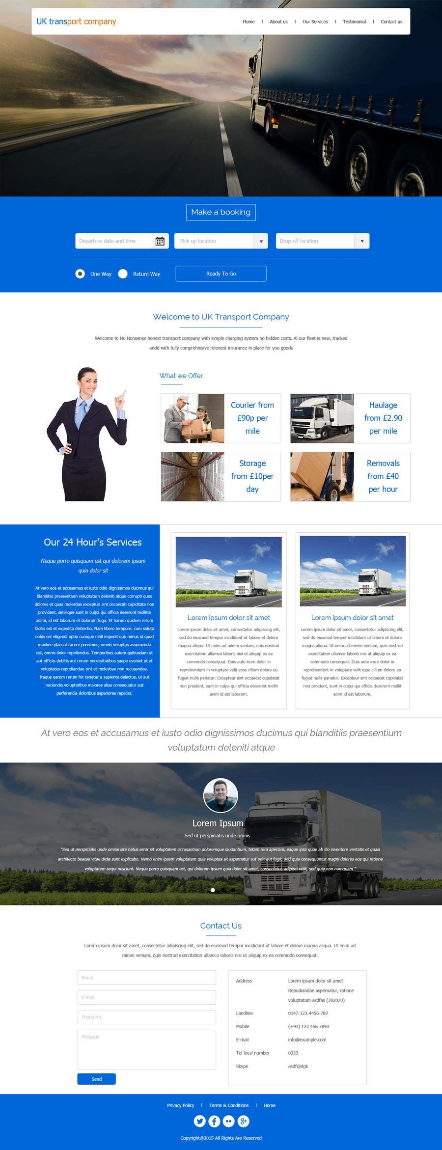 Penyertaan Peraduan #13 untuk Design a Website Mockup Must be user friendly 1 page fun site for tranport company