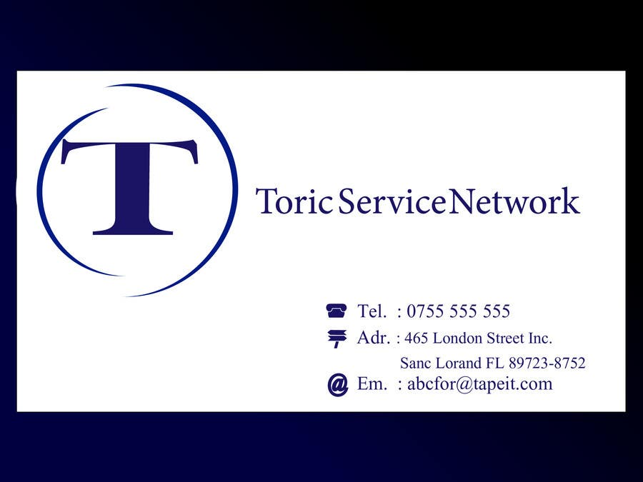 #33 for Design a Logo for Toric Service Network by copypaste238