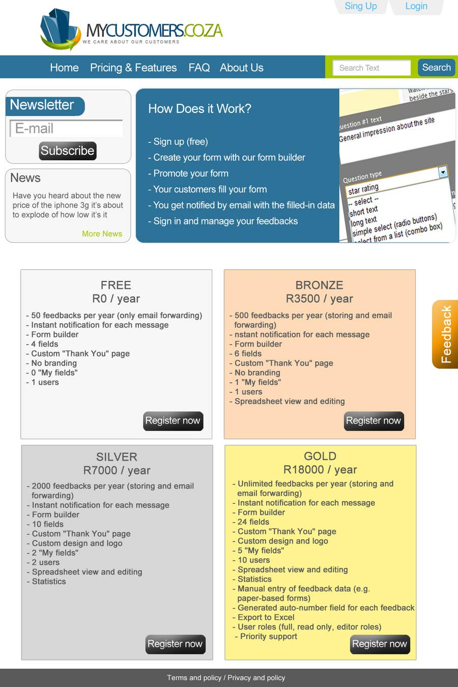 Конкурсная заявка №42 для Website Design for MyCustomers.co.za