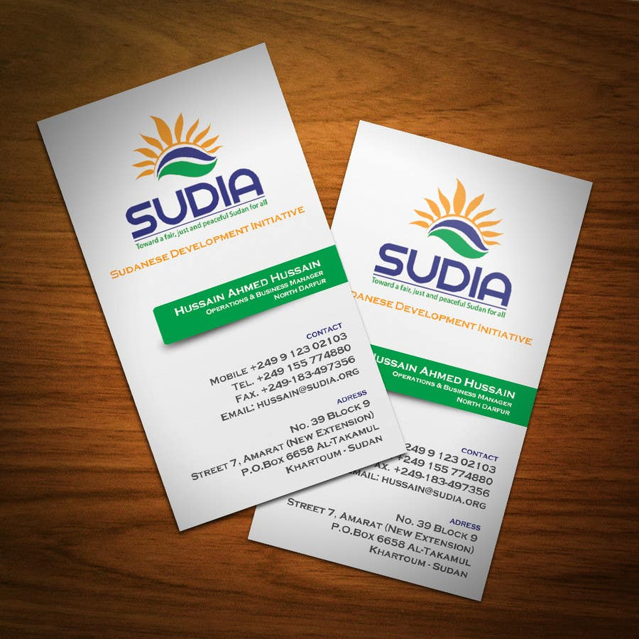 Contest Entry #102 for Business Card Design for SUDIA (Aka Sudanese Development Initiative)