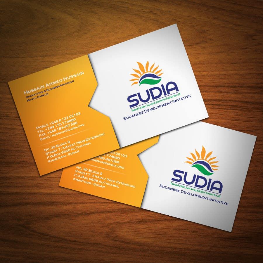 Inscrição nº 67 do Concurso para Business Card Design for SUDIA (Aka Sudanese Development Initiative)