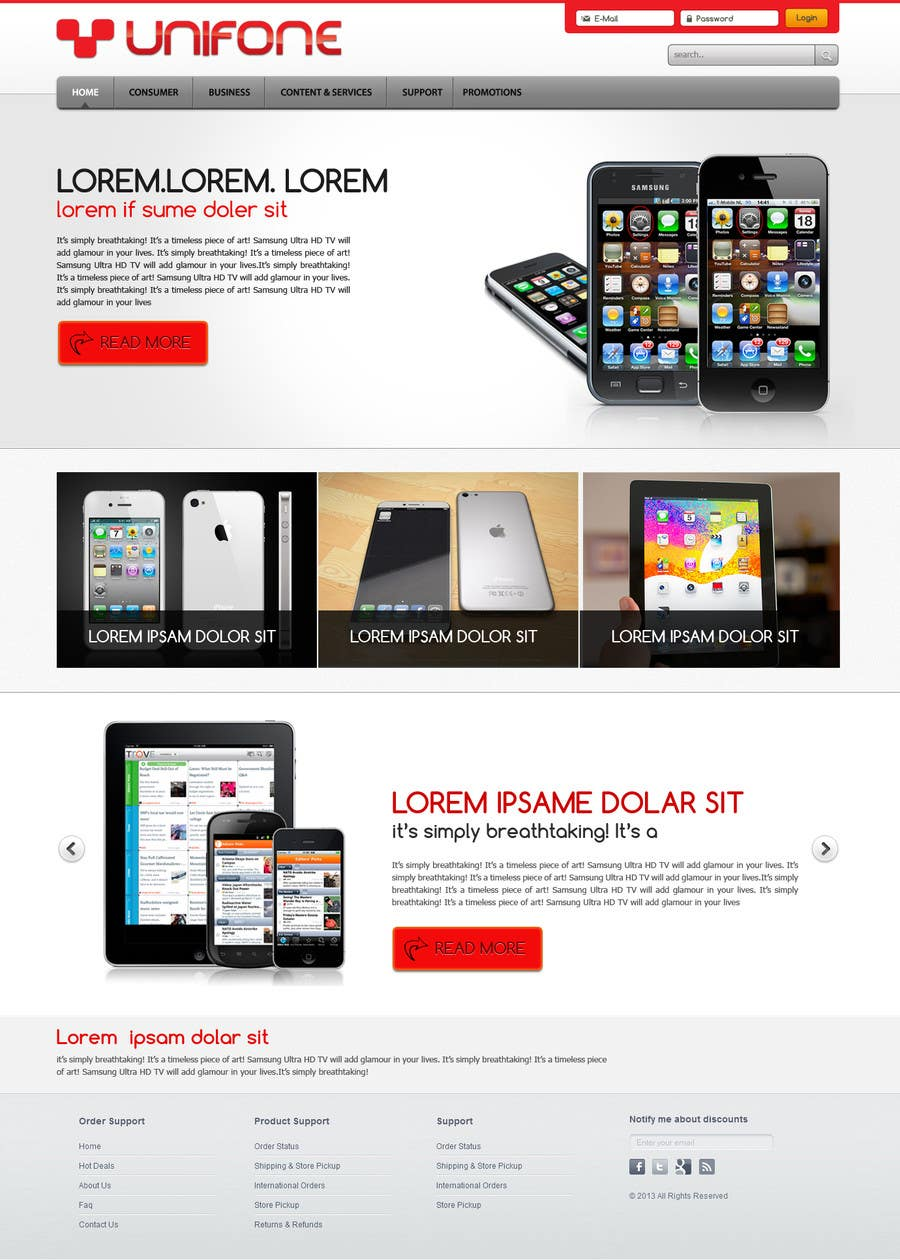 #101 for Design a strongly branded Mobile Phone Content Website by designgallery87