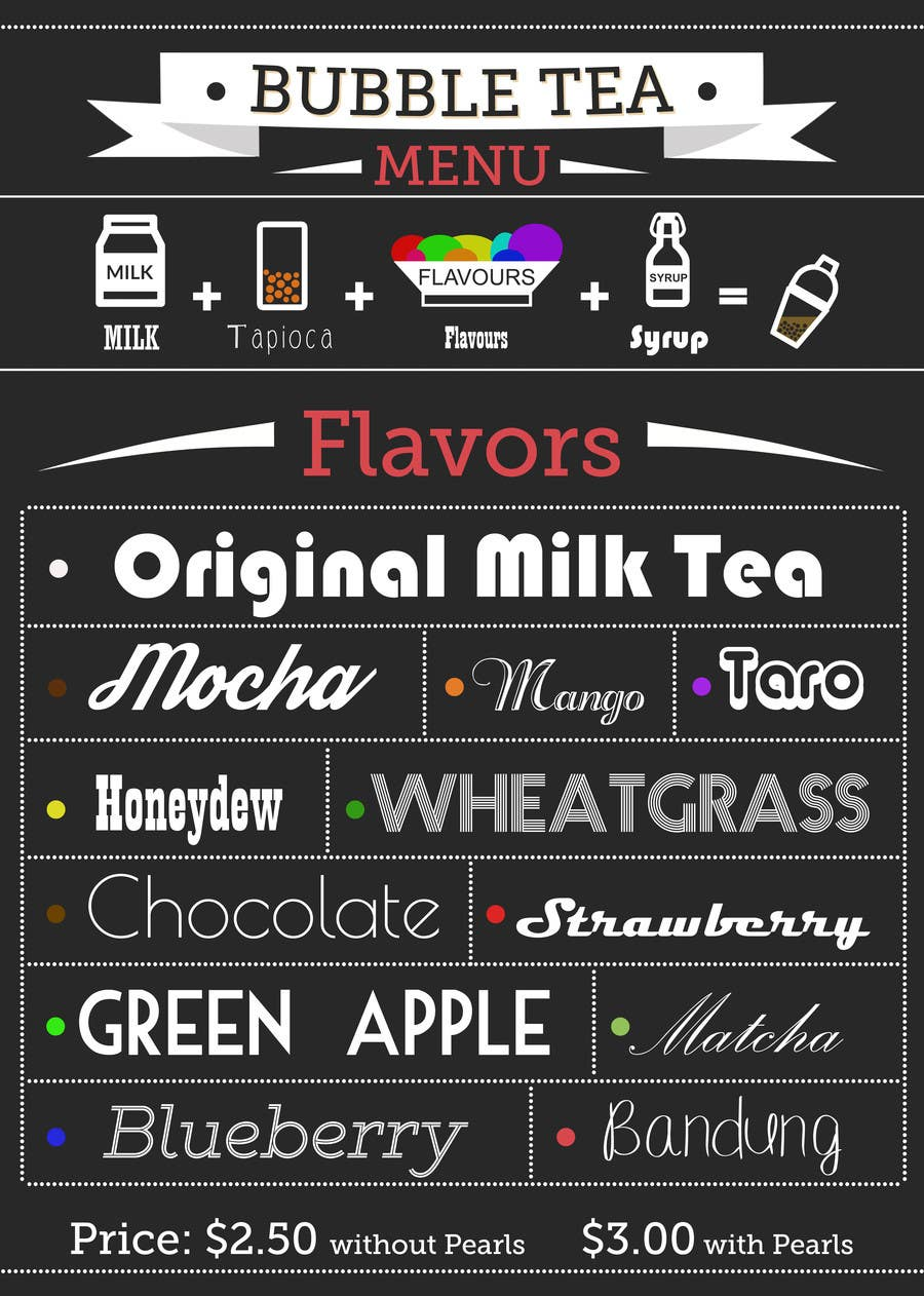 Design a Flyer for a Bubble Tea menu | Freelancer