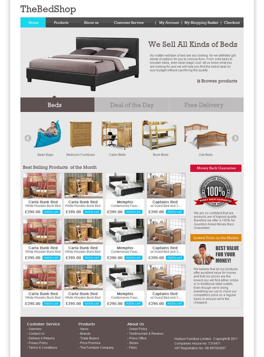 Contest Entry #11 for Website Design for The Bed Shop (Online Furniture Retailer)