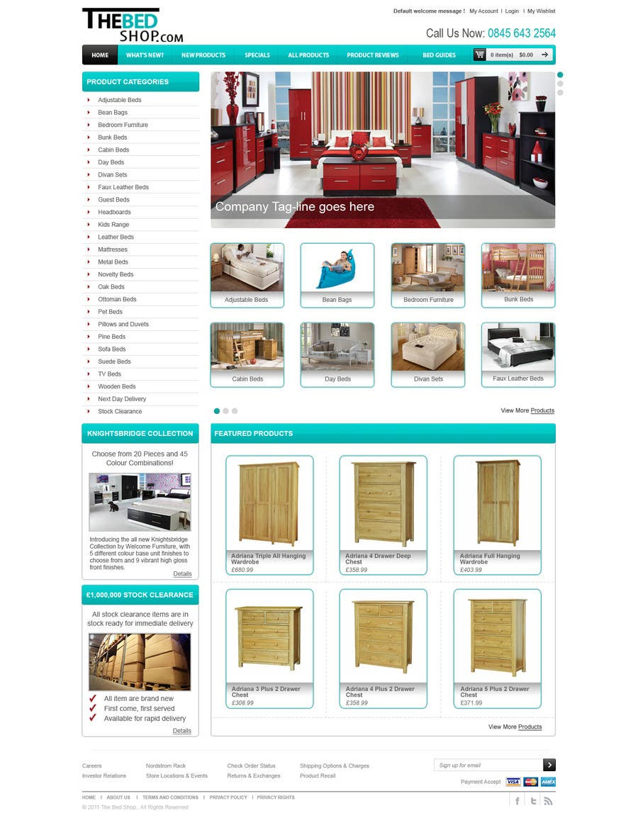Конкурсная заявка №32 для Website Design for The Bed Shop (Online Furniture Retailer)