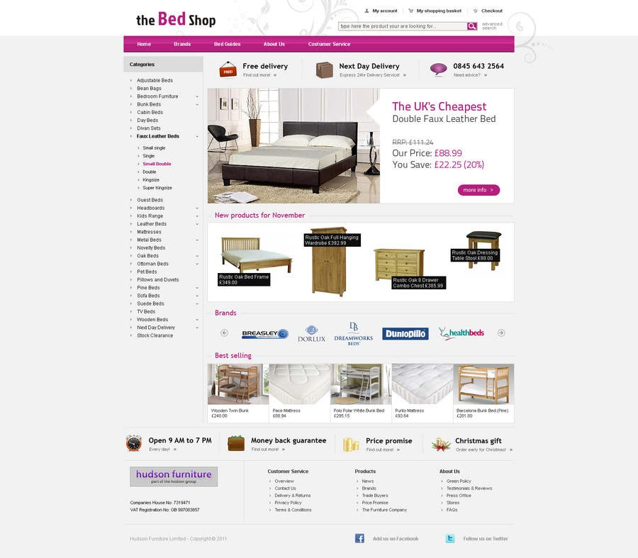 #26 for Website Design for The Bed Shop (Online Furniture Retailer) by tommasz