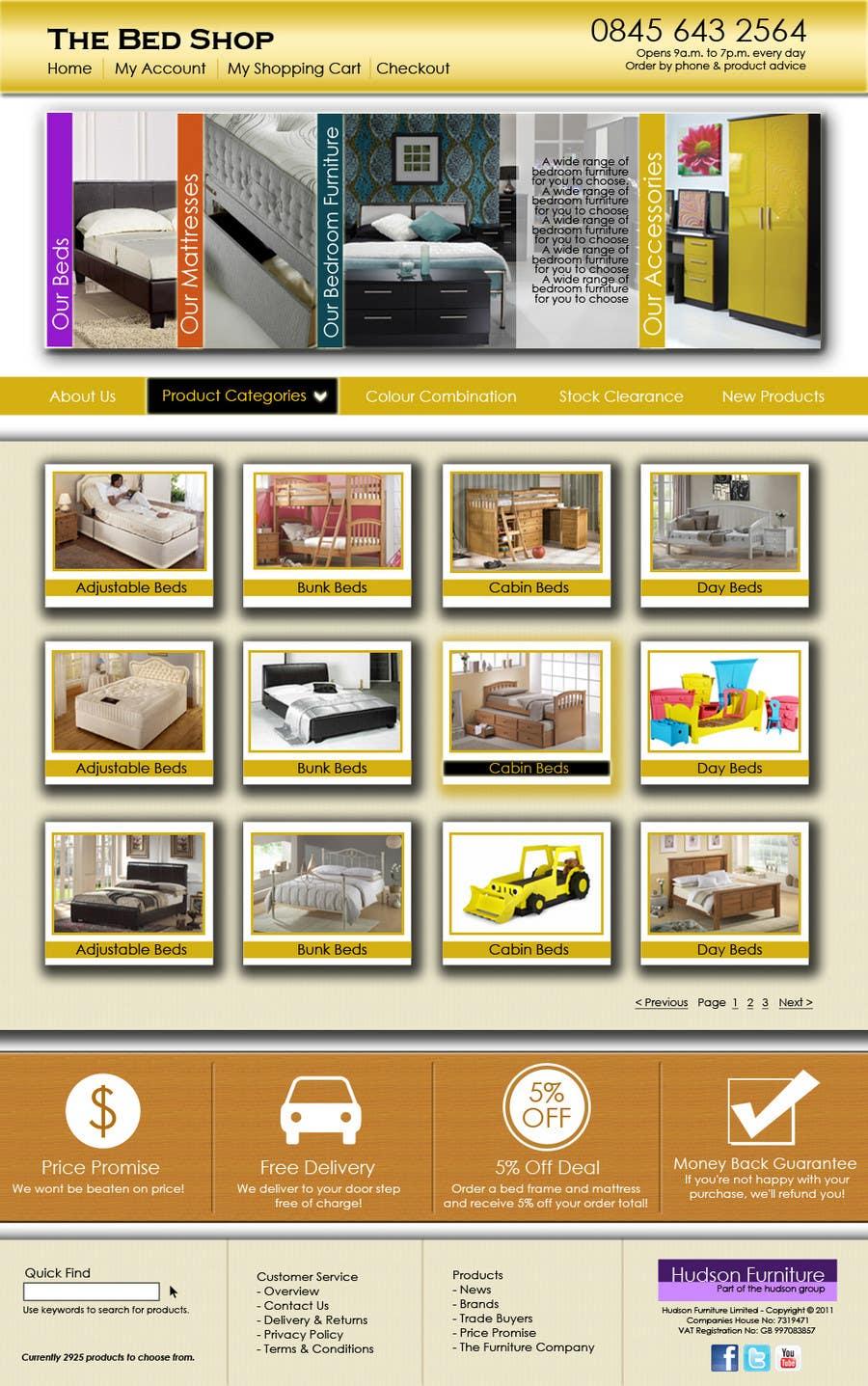 Penyertaan Peraduan #55 untuk Website Design for The Bed Shop (Online Furniture Retailer)