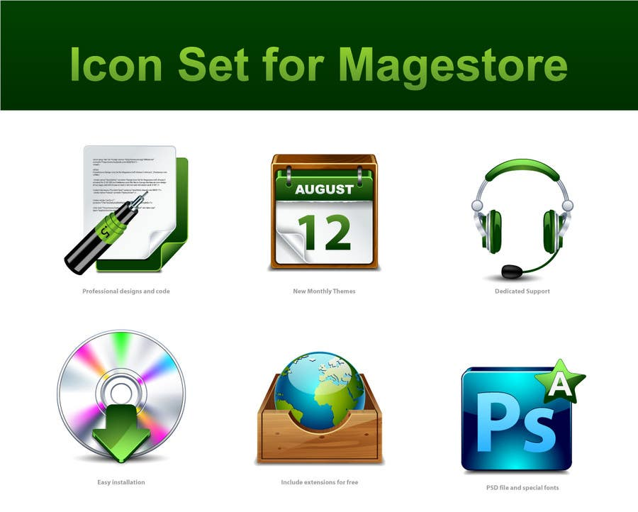 Inscrição nº                                         54                                      do Concurso para                                         Design Icon Set for Magestore (will choose 3 winners)