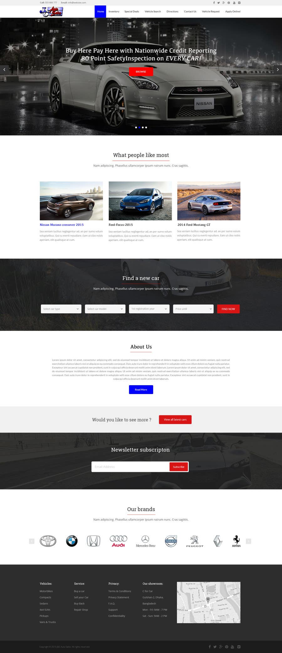 Entry #13 by yasirmehmood490 for Website Design Mockup for a Car