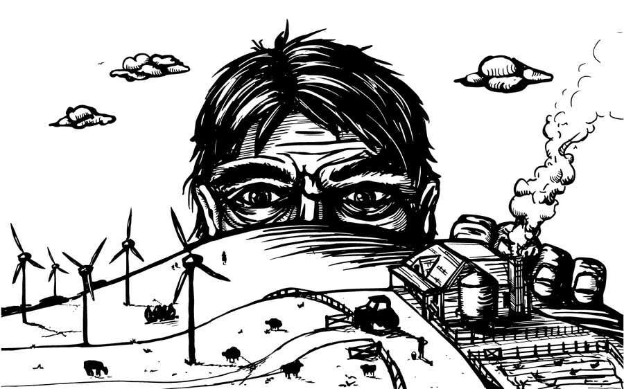 Penyertaan Peraduan #30 untuk Illustrate a giant peaking over a hill