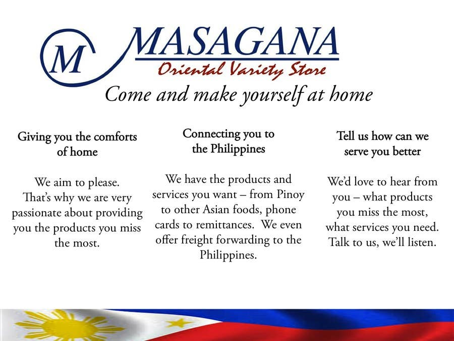 #3 for Write a tag line/slogan and content for a Specialist Philippine Grocery Store by oggieramos