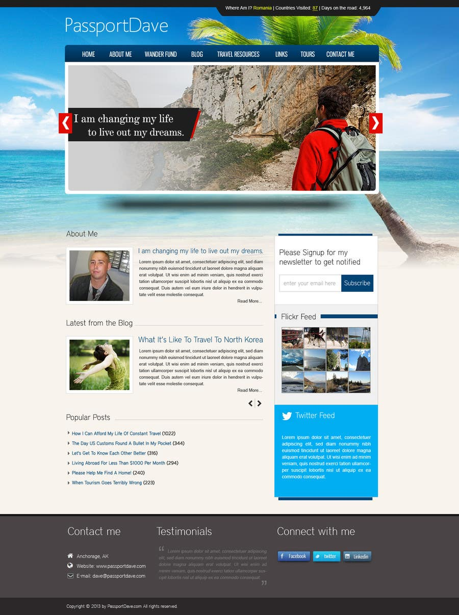 #20 for Design a Wordpress Site for Travel Blog by dilip08kmar