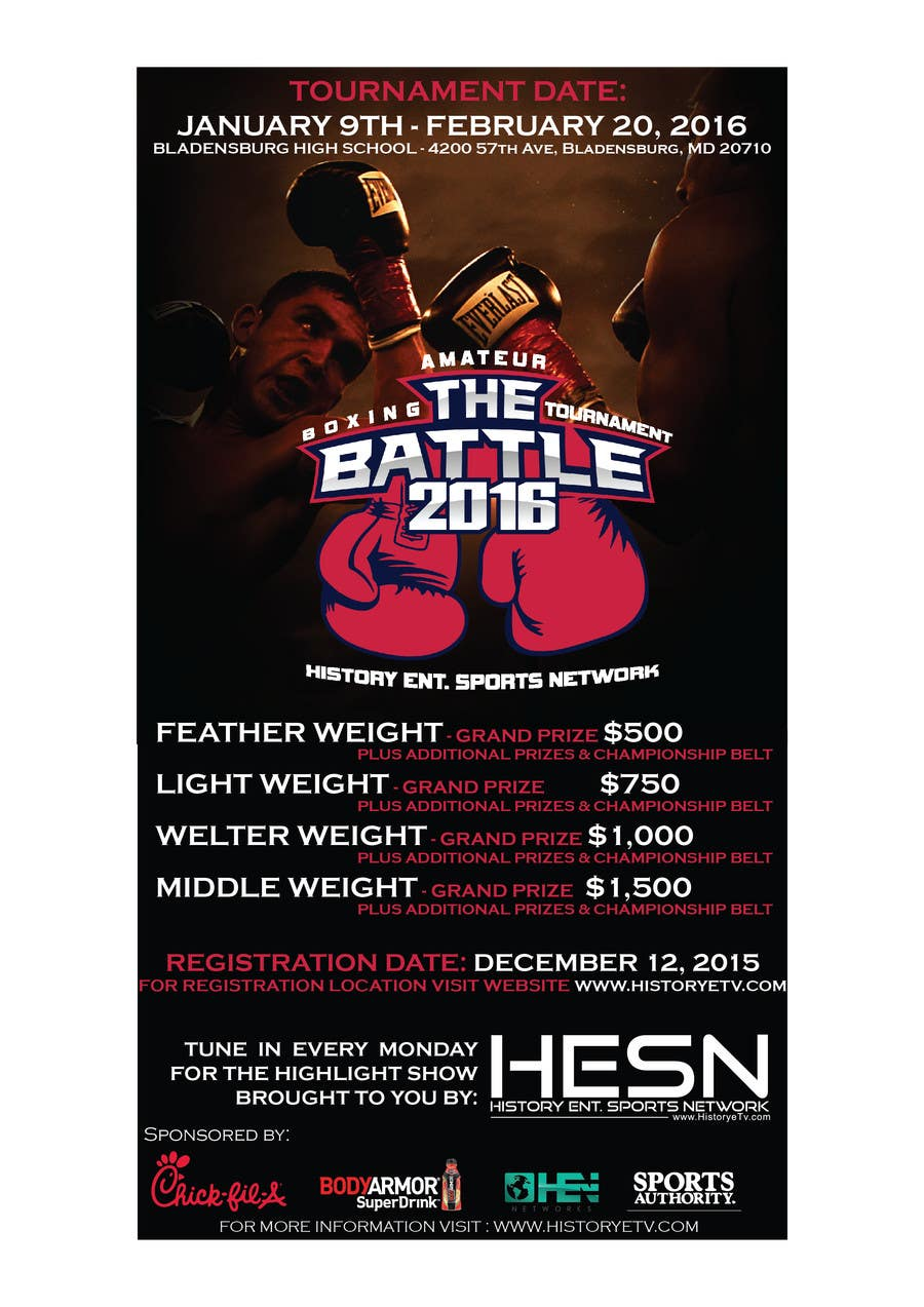 Contest Entry #                                        16                                      for                                         Design a Flyer for my Boxing tournament Easy money!