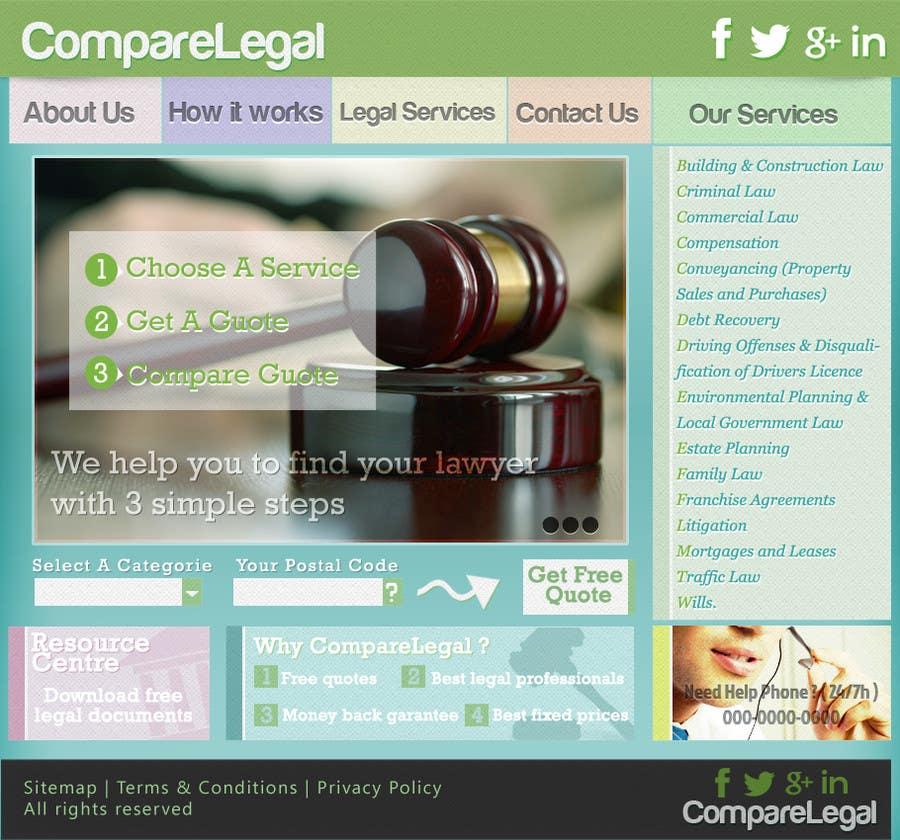 Proposition n°9 du concours Home page design plus logo - legal site