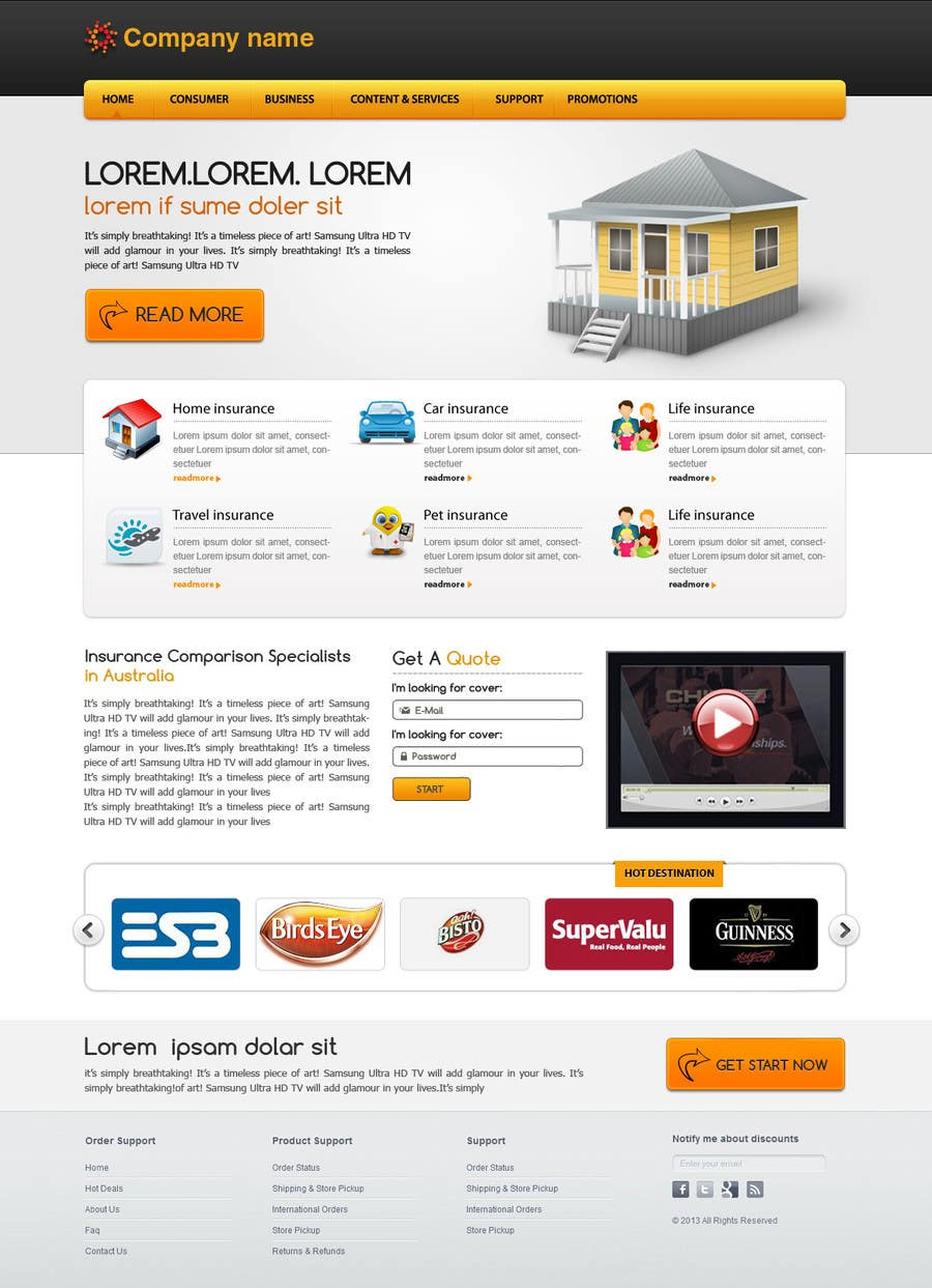 #6 for Home page design plus logo - Insurance site by designgallery87