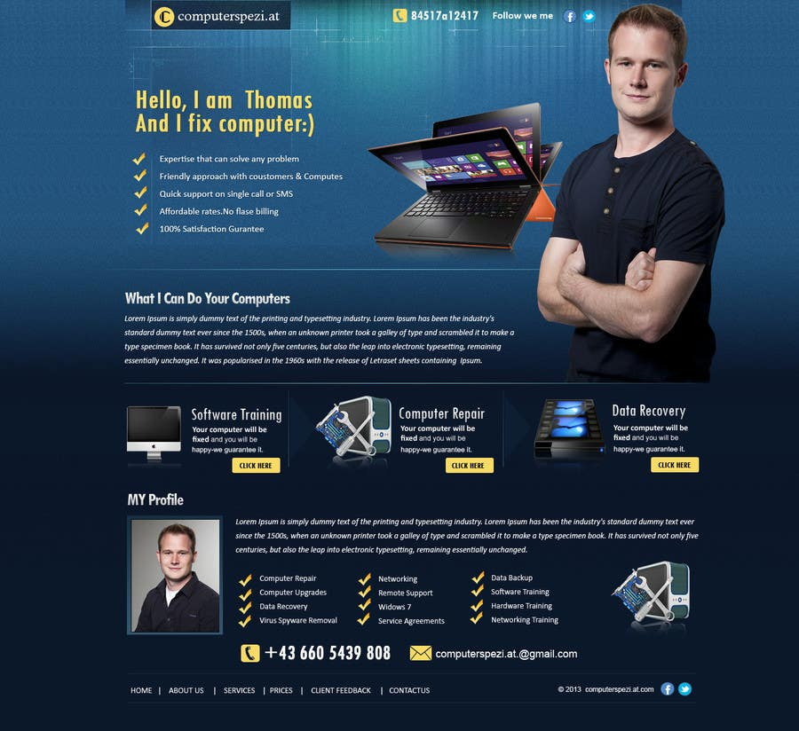 #24 for Design a single Page Website with Logo for a PC repair service by MagicalDesigner