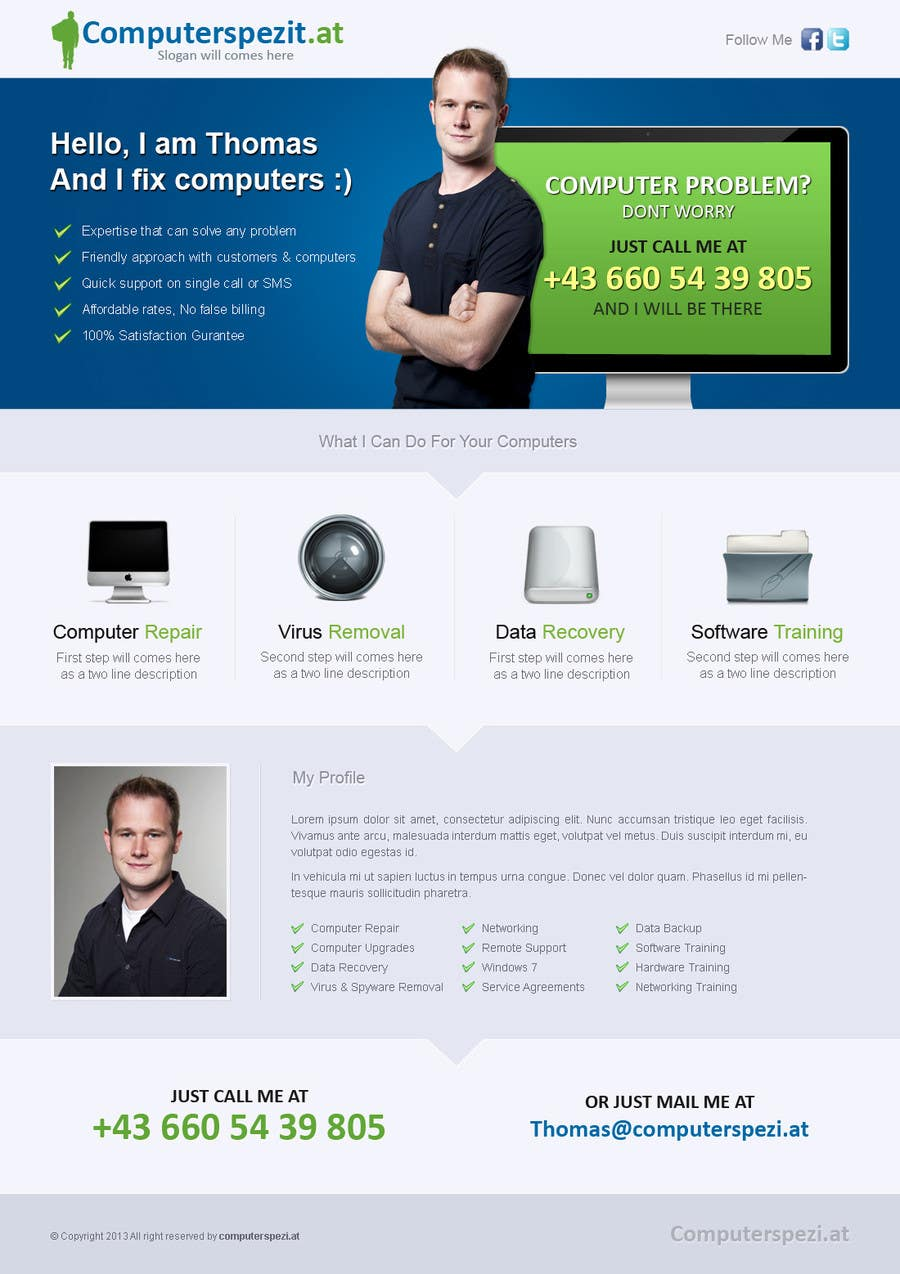 #10 for Design a single Page Website with Logo for a PC repair service by uniqueclick