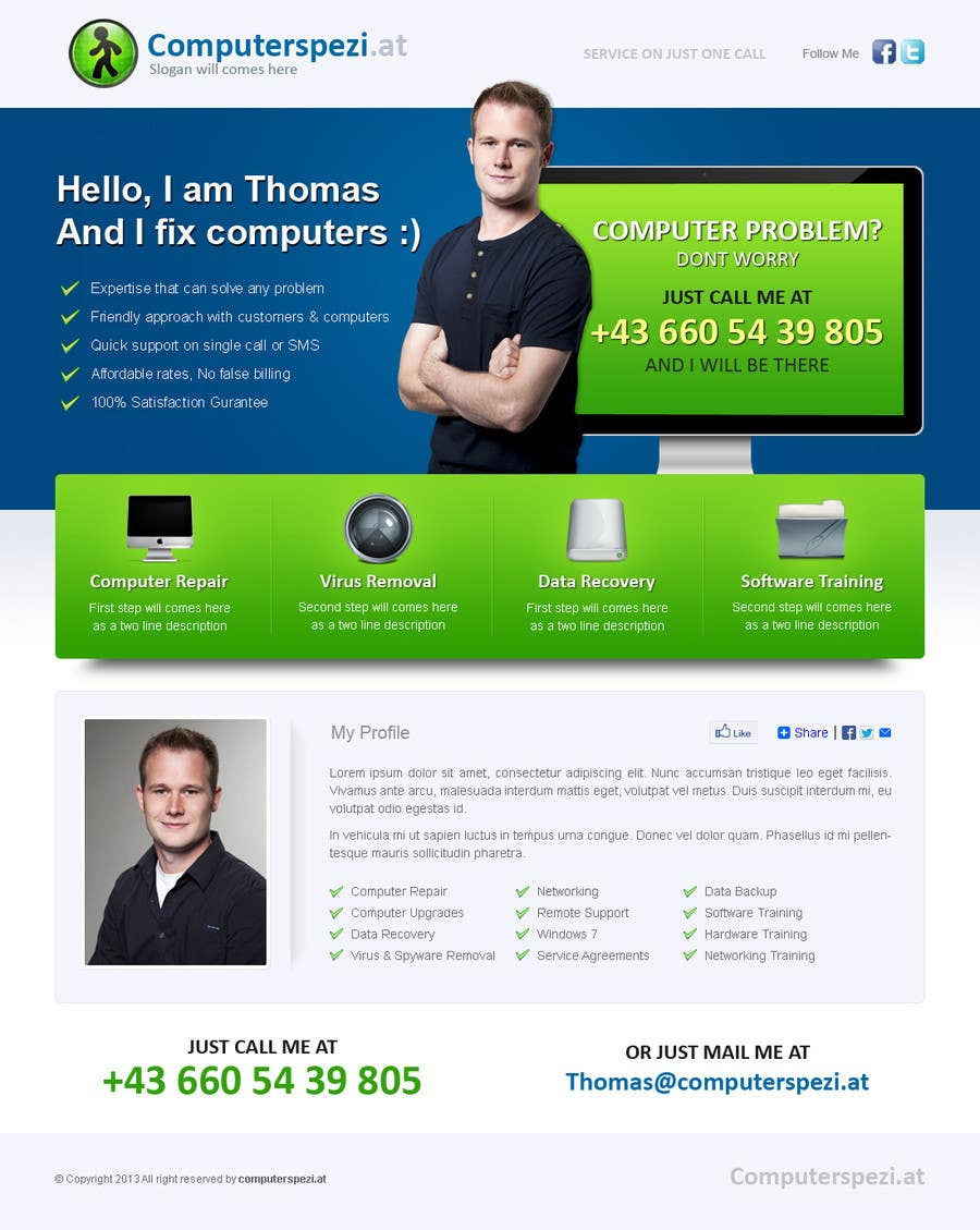 #40 for Design a single Page Website with Logo for a PC repair service by uniqueclick