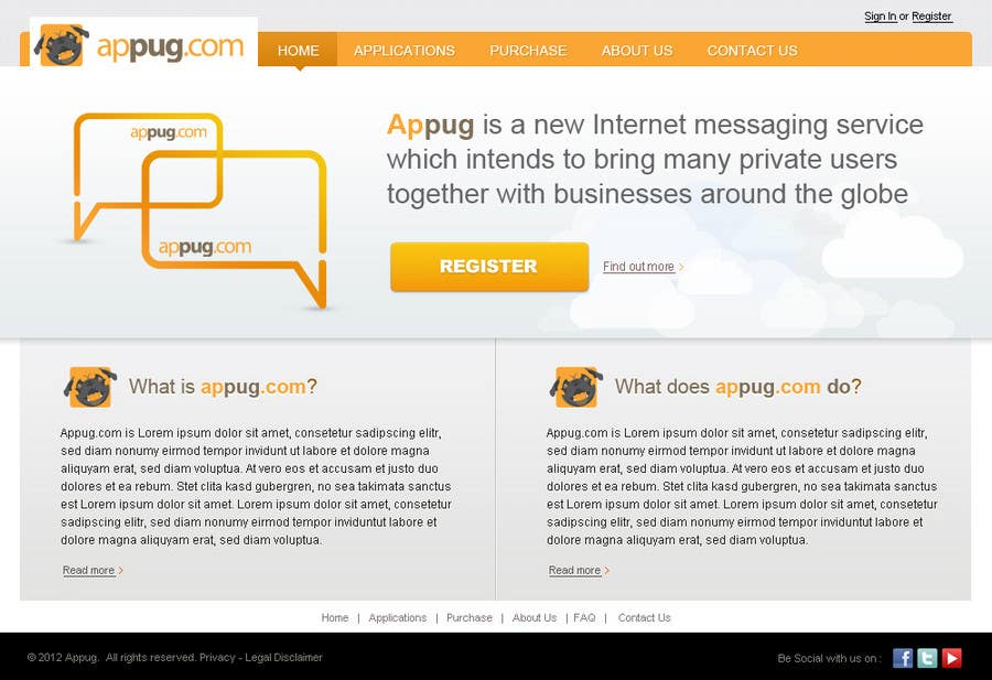 Конкурсная заявка №                                        23                                      для                                         Website Design for Appug.com, a new online messaging service (generic web page).