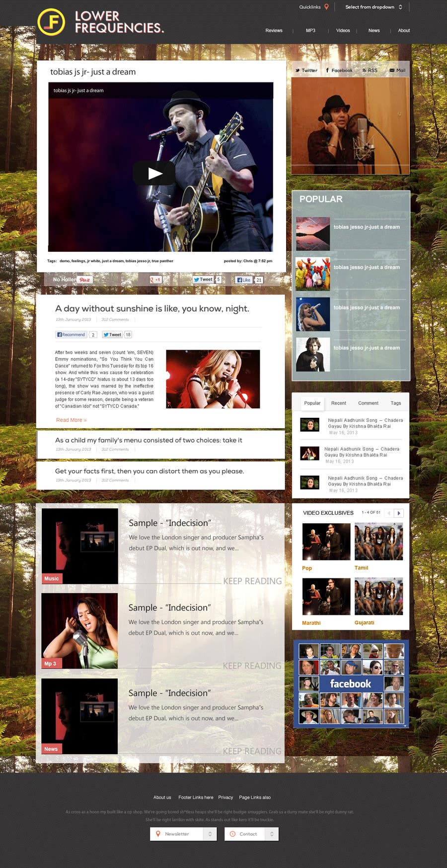 #7 for Design a Website Mockup for My Indie Music Blog by Soniyakumar