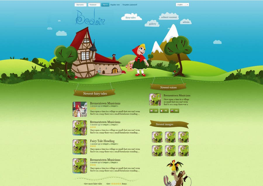 Конкурсная заявка №38 для Fairy tales Graphic Design for beanbin