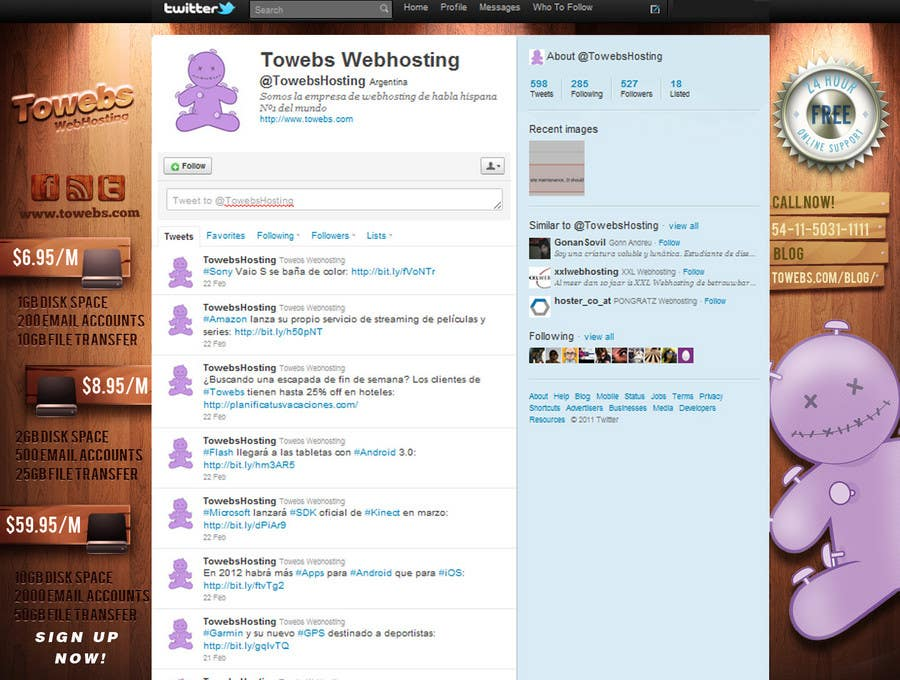 Kilpailutyö #                                        20                                      kilpailussa                                         Twitter Background for towebs.com